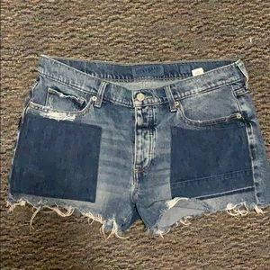 Patch work denim shorts